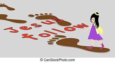 niña, footprints-following, jesús