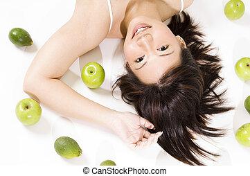 niña, fruta, 5