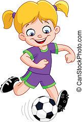 niña, futbol