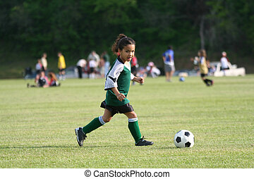 niña, futbol, joven, juego