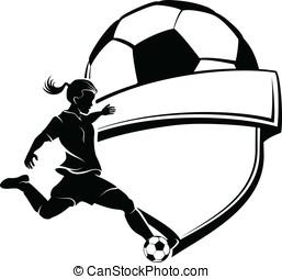 niña, futbol, protector