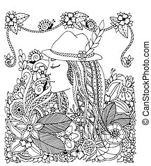 niña, garabato, énfasis, zen, negro, ilustración, adults., white., sombrero, vector, colorido, drawing., flowers., enredo, anti