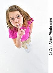 niña, gesto, silence., labios, indicar, ella