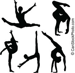 niña, gimnasia, silueta