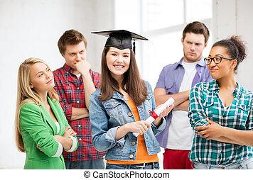 niña, gorra, graduación, certificado