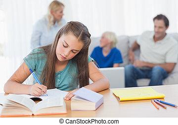 niña, hacer, ella, deberes