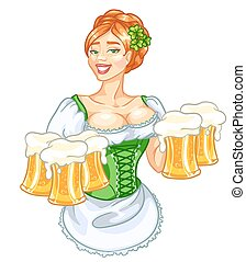 niña, hermoso, cerveza, irlandés