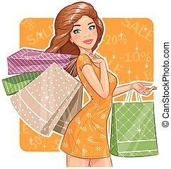 niña, hermoso, packages., shopping.