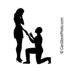 niña, hombre, propuesta, matrimonio, marcas