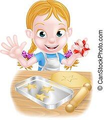 niña, hornada, caricatura