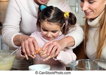 niña, hornada, con, ella, familia