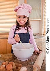 niña, hornada, retrato