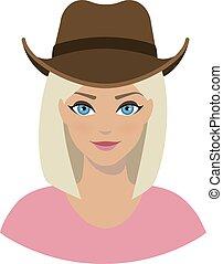 niña, icono, sombrero, avatar, vaquero