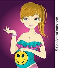 niña, ilustración, embarazada