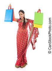 niña, indio, compras