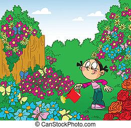 niña, jardín