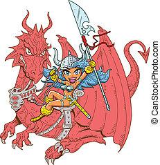 niña, jinete, dragón