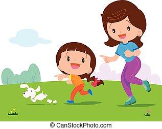 niña, jogging, mamá