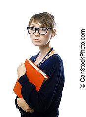 niña joven, con, libro rojo, en, anteojos