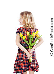 niña joven, con, tulipanes, atrás, ella, espalda