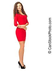 niña joven, en, vestido rojo