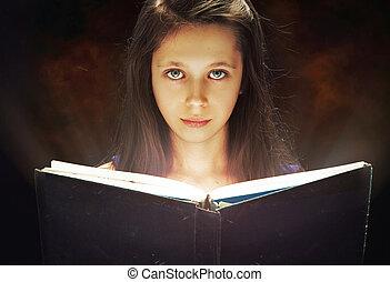 niña joven, lectura, un, viejo, libro