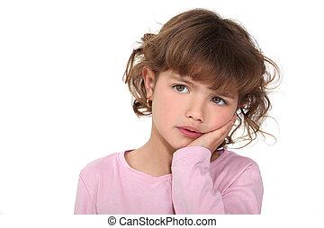 niña joven, mirar, preocupado