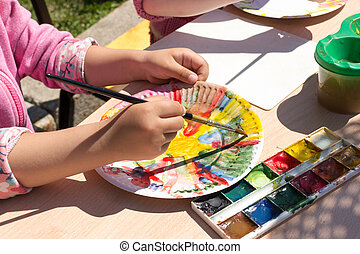 niña joven, pintura, papel, placa