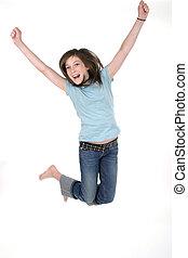 niña joven, saltar, 2