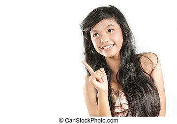 niña, joven, señalar con el dedo arriba