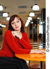 niña joven, triste, vestido, en, rojo, blusa, sentado, en,...