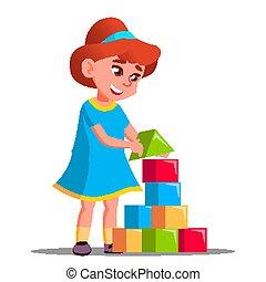 niña, juego, en, componentes básicos, vector., aislado, ilustración