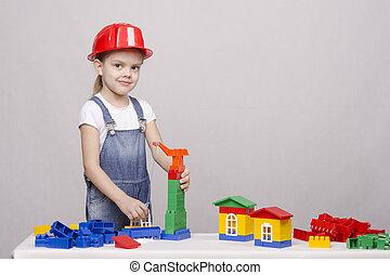 niña, juego, en, el, constructor