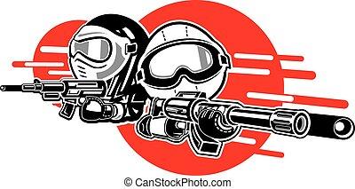 niña, juego, suave, niño, armas de fuego, aire