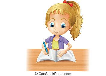 niña, largo-long-haired, escritura
