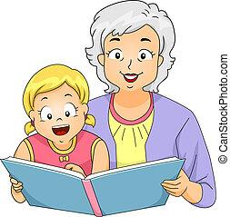 niña, lectura, abuelita