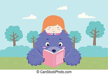 niña, libro, historia, niño, monstruo