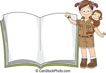 niña, libro, safari, niño