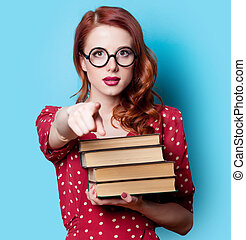 niña, libros, vestido, rojo
