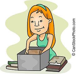 niña, libros, viejo, embalaje