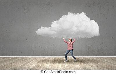 niña, llevar, nube