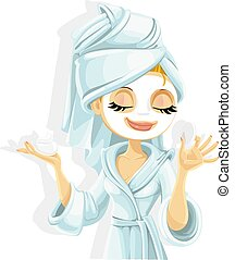 niña, máscara, fa, cosmético, ella