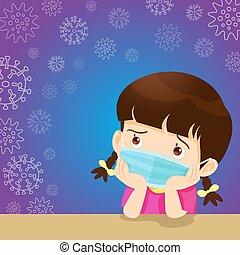 niña, máscara, llevando, quirúrgico, niños, prevenir, virus