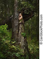 niña, magia, bosque, rubio