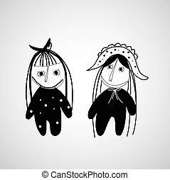 niña, mano, dibujado, caricatura