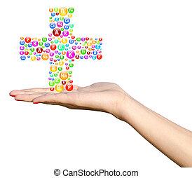 niña, mano, vitaminas, tenencia, joven