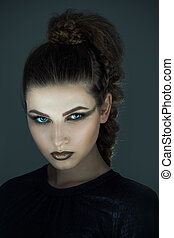 niña, maquillaje, halloween, creativo