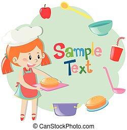 niña, marco, hornada, pastel, plantilla