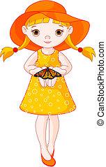 niña, mariposa