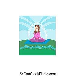 niña, medita, en, naturaleza